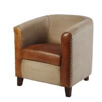Sessel aus recycelter Baumwolle und Ziegenleder, braun Pionnier Pionnier