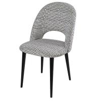 Sessel aus Samt mit schwarzen und weißen Motiven und Birkenholz Iris