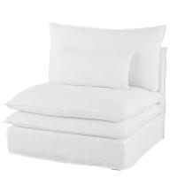 Sessel ohne Armlehnen für Sofa mit Leinenbezug, weiß Pompei