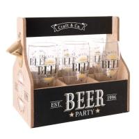 Set 6 bicchieri da birra in vetro e supporto stampato