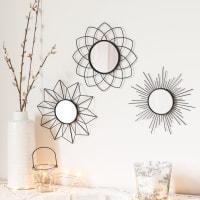 Set aus 3 runden Spiegeln mit Metallrahmen D.25 Suzi