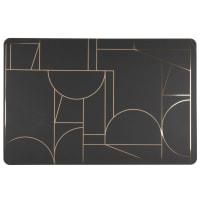 WIENERBERG - Set de mesa con motivos gráficos negros y dorados