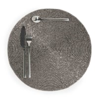 Set de table rond argent D 33 cm Perle