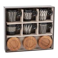 NAIROBI - Set met 6 tassen van gres met print en schoteltjes van bamboe