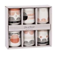 BELINA - Set met 6 witte, rode, zwarte en grijze kopjes van gres
