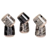 NUKA - Set met kopjes van gres (x6) met zwarte, lichtgrijze en grijze grafische motieven