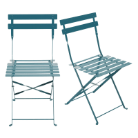 Set of 2 Metal Folding Garden Chairs with Teal Epoxy Coating H80 Guinguette