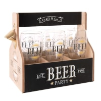 Set of 6 Beer Glasses with Printed Holder