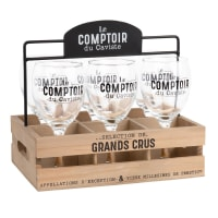 Set of 6 Glasses and Black and Natural-Coloured Holder