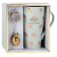 Set tazza con infusore per tè in porcellana con motivi dorati Palm Tree