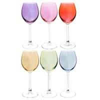 COLORAMA - Set van 6 meerkleurige glazen op voet