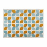 fabric rug with orange and blue motifs 140 x 200 cm Seven
