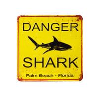 Yellow Metal Decorative Plaque Shark