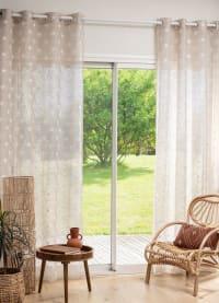 ALEMDAR - Single beige and ecru curtain with print Eyelet Curtain 140x250cm