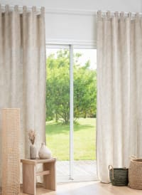CABANISSE - Single beige and olive green printed Tab Top curtain 140x250cm