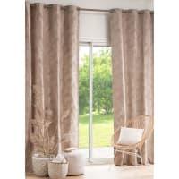Single Beige Eyelet Curtain with Foliage Print 140x270 Rimida