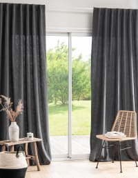 PERALDI - Single charcoal grey cotton and ramie tab-top curtain 135x270cm