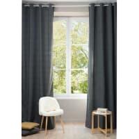 Single Charcoal Grey Eyelet Curtain 140x300 Chenille