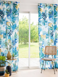 Single Cotton Eyelet Curtain with Print 110x250 Botany Villa