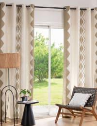 ENIOLA - Single ecru and beige printed curtain Eyelet Curtain 140x250cm