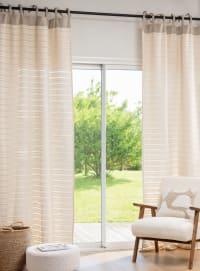 ARNA - Single ecru and beige textured cotton tie-top curtain 110x250cm