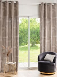 ODERZO - Single eyelet curtain in taupe, ecru and gold cotton 135x270cm