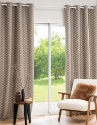 LUZETTE - Single taupe and ecru eyelet curtain Eyelet Curtain 140x250cm