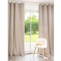 Single Taupe Cotton Eyelet Curtain 140x250 Atelier