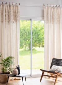 NAZIMA - Single tufted beige cotton eyelet curtain 105x240cm