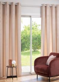 KONAWETT - Single velvet eyelet curtain with beige textured motif 140x250cm
