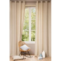 Single Washed Beige Linen Eyelet Curtain 140x300