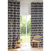 Single White and Anthracite Eyelet Curtain 140x300 Aston
