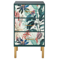 SWAN - Small 3-drawer unit woth multicoloured exotic foliage print and gold metal