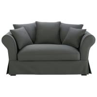 Sofa 2-/3-Sitzer aus Baumwolle, schiefergrau Roma