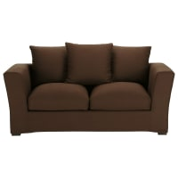 Sofa 2/3-Sitzer nicht ausziehbar, Baumwolle schoko - Bruxelles Bruxelles