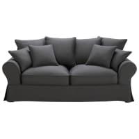 Sofa 3-Sitzer aus Baumwolle, schiefergrau Bastide