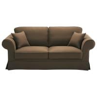 Sofa 3-Sitzer nicht ausziehbar, Baumwolle schoko - Victoria Victoria