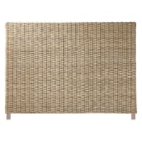 Solid mahogany and Kubu rattan headboard W 140cm Key West