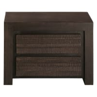 Solid mango wood bedside table with 2 drawers Java
