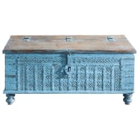 Solid mango wood Indian chest in blue W 125cm Maharani
