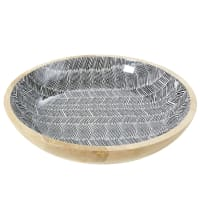 Solid Mango Wood Trinket Bowl with Graphic Print Territoire