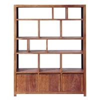 Solid Sheesham Wood 3-Door Shelf Unit Stockholm