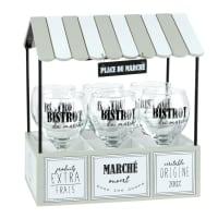 Soporte expositor de metal con 6 vasos Place Du Marche