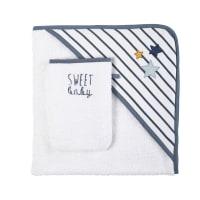 Sortie de bain bébé en coton bleu et blanc Gaspard