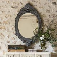 Specchio con modanature grigie, 64x100 cm Alceste