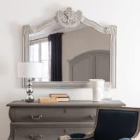 Specchio grigio con modanature, 106x91 cm Octave