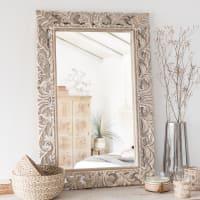 Specchio in mango scolpito, 60x90 cm Lombok