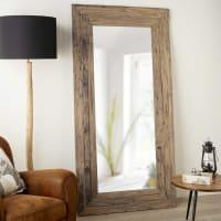 Specchio in tek riciclato 100x200cm Woody