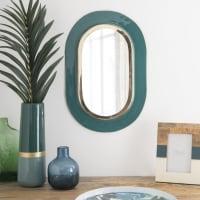 Specchio ovale in metallo verde e dorato, 30x45 cm Larissa