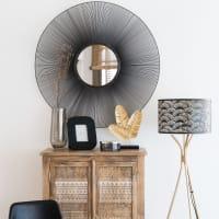 Specchio rotondo a reticolo nero, 100 cm Adonis